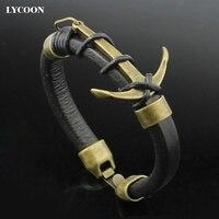 LYCOONผู้ชายแฟชั่นใหม่ล่าสุดตะขอสร้อยข้อมือกำไลข้อมือสแตนเลส316L anchorกำไลสร้อยข้อมือหนังแท้