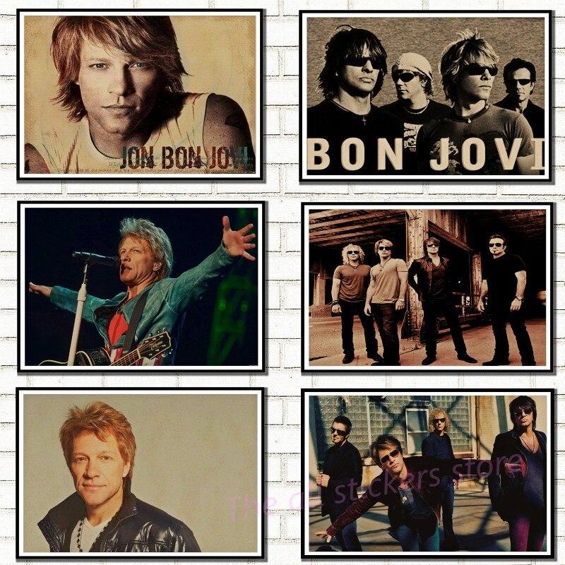 bon jovi poster vintage retro rock band musik gitarre matte kraft papier antikes plakat wand aufkleber hause decora 6010