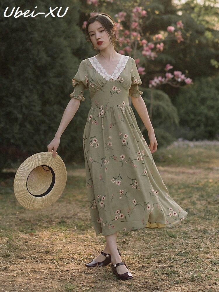 Ubei New Arrival Summer French style girls retro print dress high waist slim show lace V