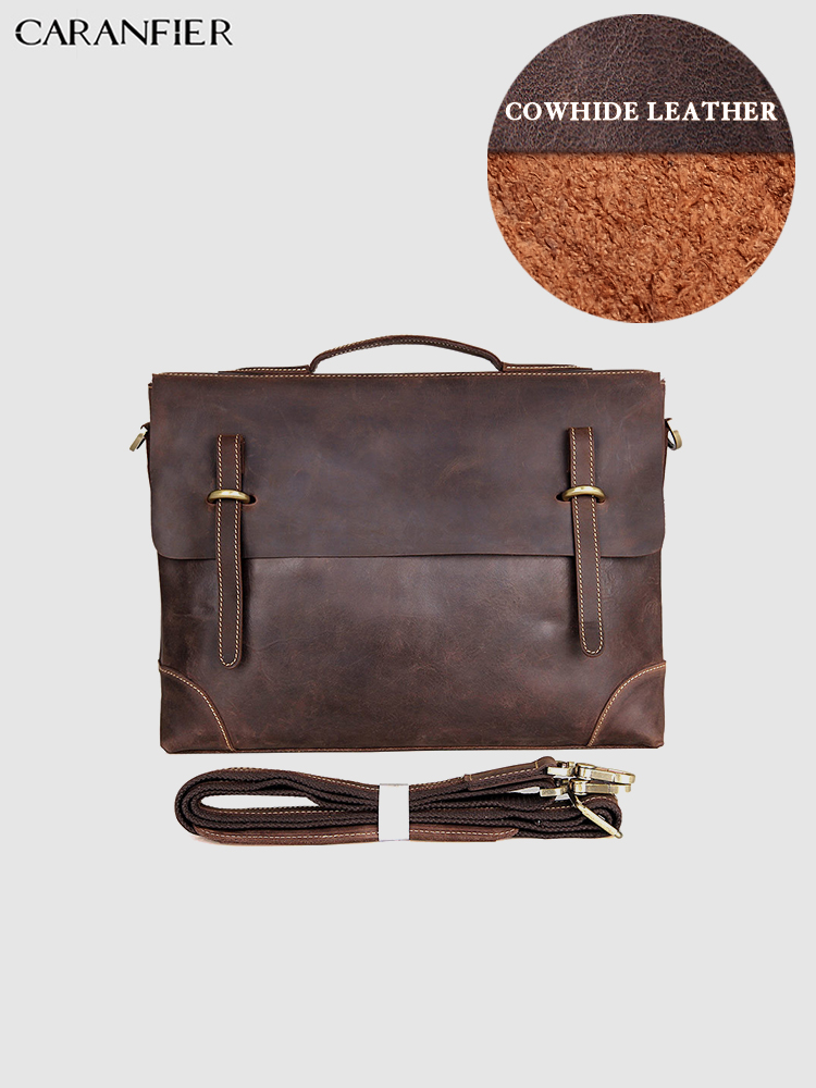 CARANFIER Men Briefcase Crazy Horse Genuine Cowhide Leather Crossbody Large Capacity 14 Inches Laptop Bags Business Handbags