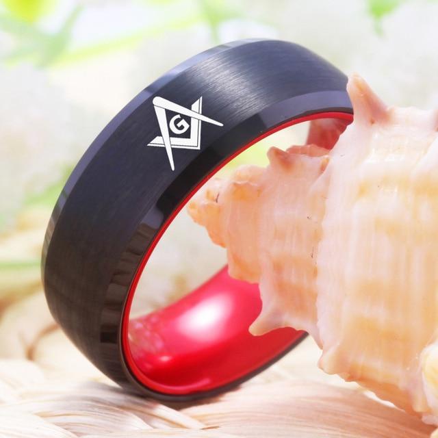YGK bague de bijoux de mariage pour maçonnique Mason hommes tungstène noir avec anneau incrusté daluminium anodisé rouge