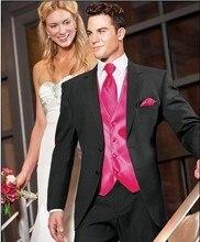 Brand New Groom Tuxedo Black Groomsmen Notch Lapel Wedding/Dinner Suits Best Man Bridegroom (Jacket+Pants+Tie+Vest) B245