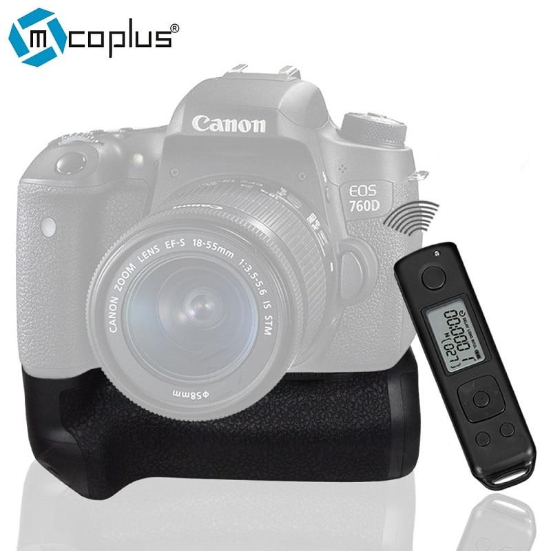 Mcoplus BG-760DR LCD는 BG-E18로 Canon EOS 750D 760D 반역 T6i T6s를위한 붙박이 2.4G 무선 원격 제어 수직 건전지 그립