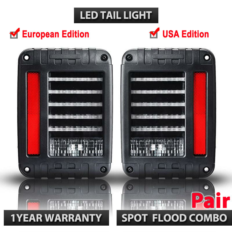 EU / US Standard Pair of 66w LED Reverse Backup Tail Light for Jeep Wrangler JK 2007-2016 4x4 4WD 12V 24V LED Running Lights купить