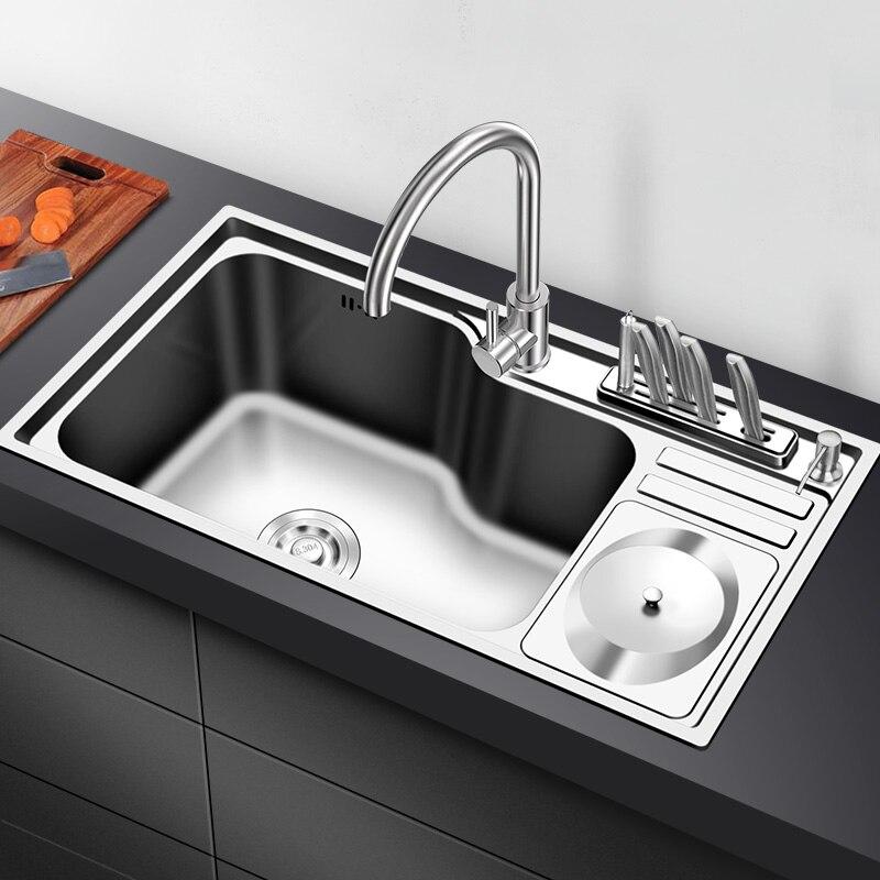 304 edelstahl nano küche waschbecken zeichnung große einzigen schüssel slot becken pakete nehmen mülleimer rest teich