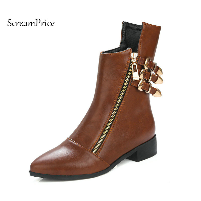 Woman Pointed Toe Flat With Mid Calf Boots Fashion Side Zipper Buckle Dress Boots Short Plush Winter Boots Black Brown цена 2017