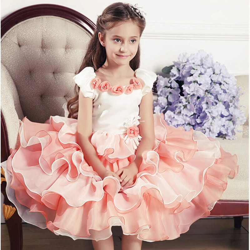 2015 kids tutu dress for evening banquets formal dress girls clothing,ruffles Multi Layers Champagne color baby dress princess