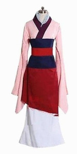 Image 5 - Костюмы на Хэллоуин для женщин размера плюс принцесса фильм косплей девушка взрослые дети Хуа Мулан взрослый костюм платье розовое голубое платье