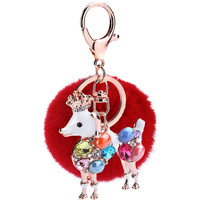 Wholesale 3PCS Colorful Alloy Rhinestone Animal Sheep Pendant Key Rings 8CM Round Rabbit Fur Ball Keychain