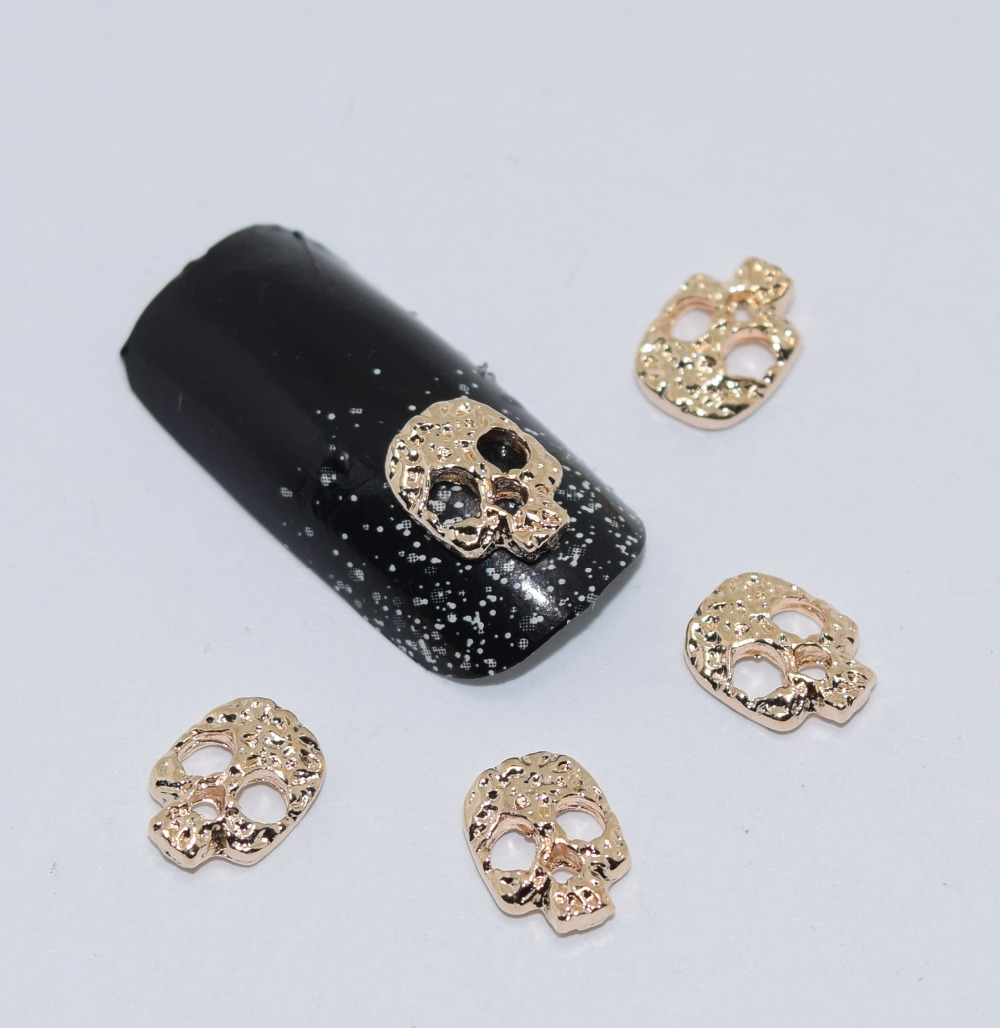 10psc New Golden Skull 3D Nail Art Decorations,Alloy Nail Charms,Nails Rhinestones  Nail Supplies #065 intramuscular injection pad injection practice pad iv injection pad