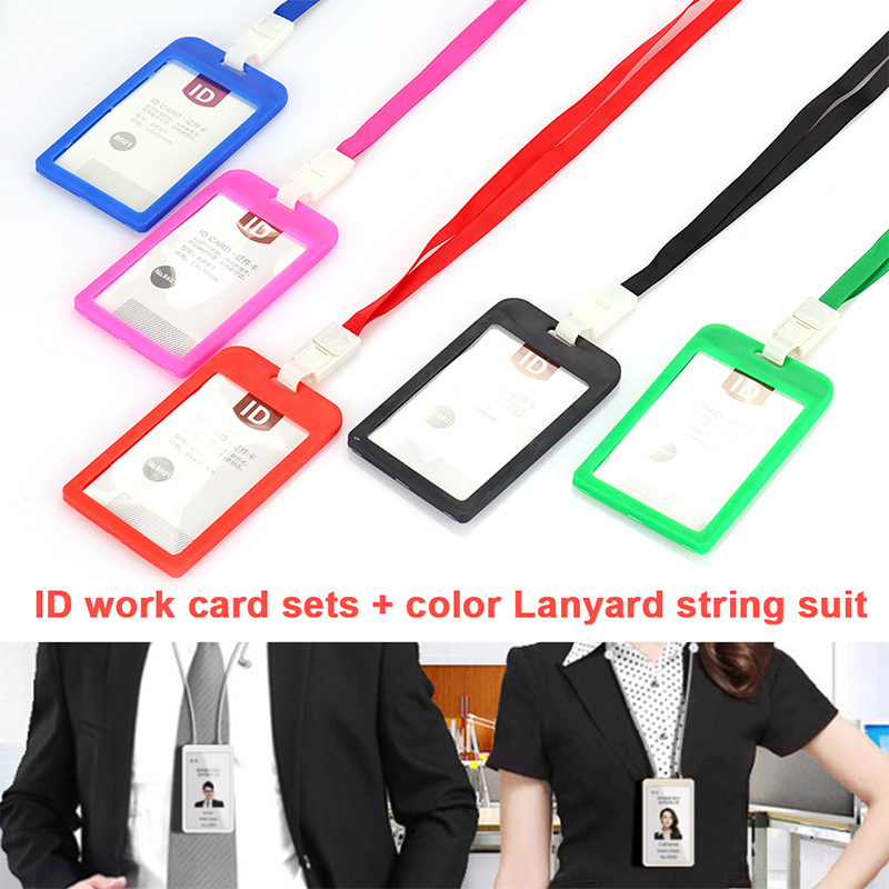 ID Card Holder Plastic Business Badge Holders Labels Driver License Office Portable Lanyard Stationery Identification Badges