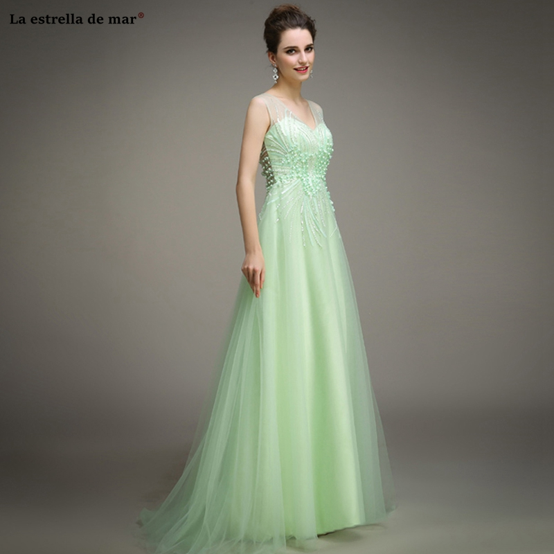 Vestido Boda Mujer Invitada2019 New Scoop Neck Tulle Crystal Mint Green Pink Bohemian Bridesmaid Dress Long Wedding Party Dress