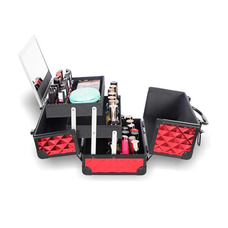 HHYUKIMI yüksek kaliteli alüminyum alaşımlı çerçeve makyaj organizatör kadınlar kozmetik çantası/çantası ayna ile seyahat büyük kapasiteli bavul