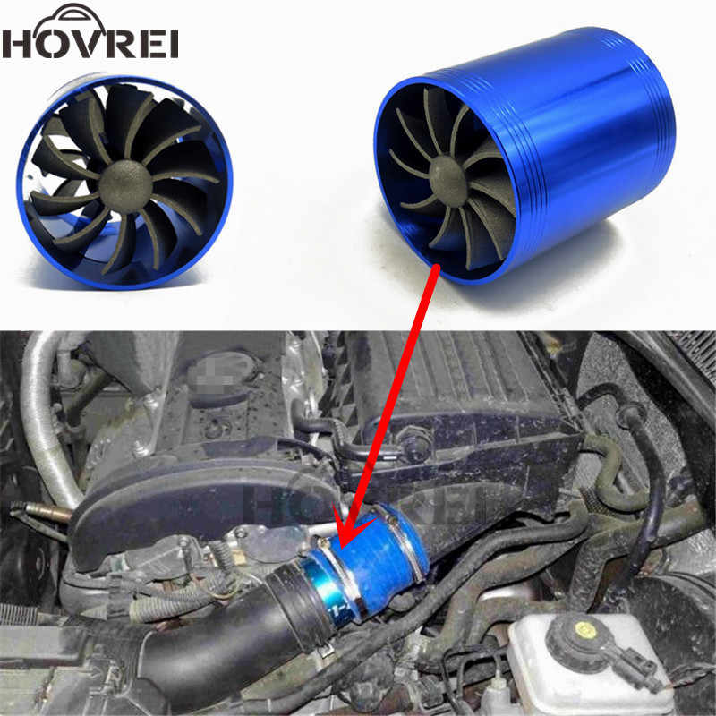 Auto Doppel Dual Turbo Air Intake Turbine Gas Fuel Saver Fan Turbo Supercharger Turbine Fit für Air Intake Schlauch Durchmesser 65-74mm