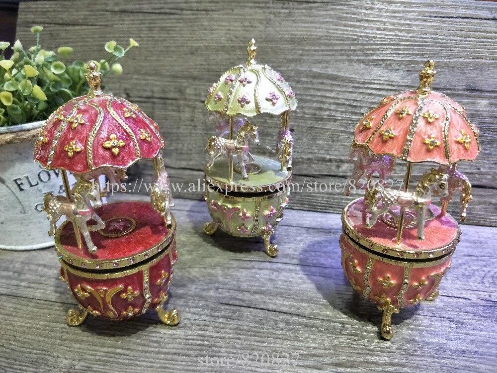 New Vintage En Forme D'oeuf Boîte à Musique Style Fabergé Oeuf Boîte à Musique-Figurine En Étain, Musical Oeuf Boîte à Bijoux avec Chevaux