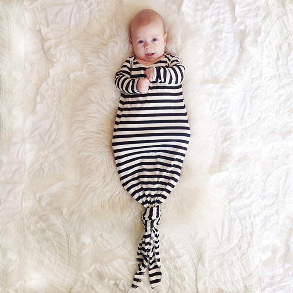 Lovely Cotton Baby Boy Girl Long Sleeve Fancy Dress Newborn infant Swaddle Black Strip S ...