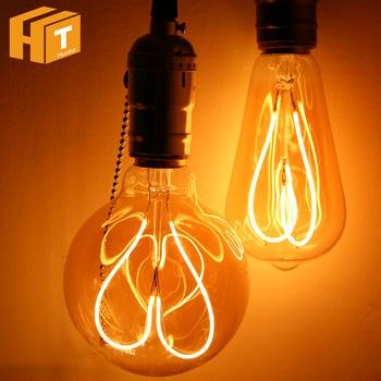 Новинка Светодиодный светильник AC220V 4 Вт E27 ST64 G95 с сердечком спираль накаливания лампа Эдисона Ретро декоративный светильник ing.