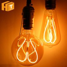Novelty LED Bulb Light AC220V 4W E27 ST64 G95 Love Heart Spiral Filament Edison Bulb Lamp Retro Decoration Lighting.