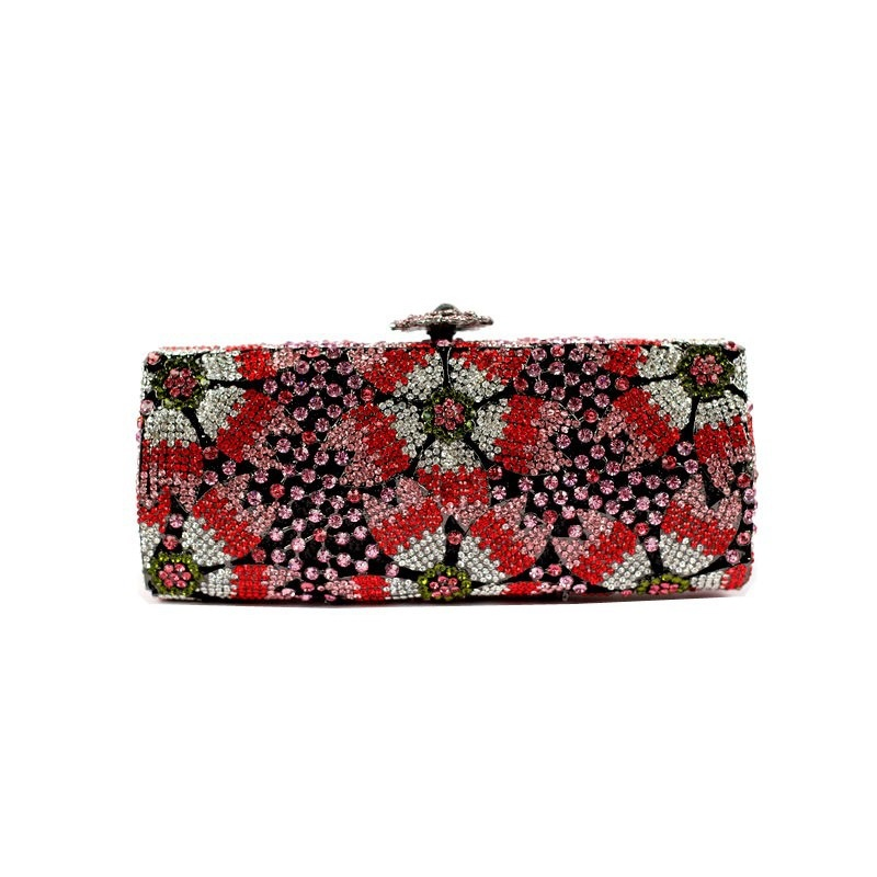 ФОТО 8218E colorE Crystal Flower Floral Fashion Wedding Bridal hollow Metal Evening purse clutch bag case box handbag