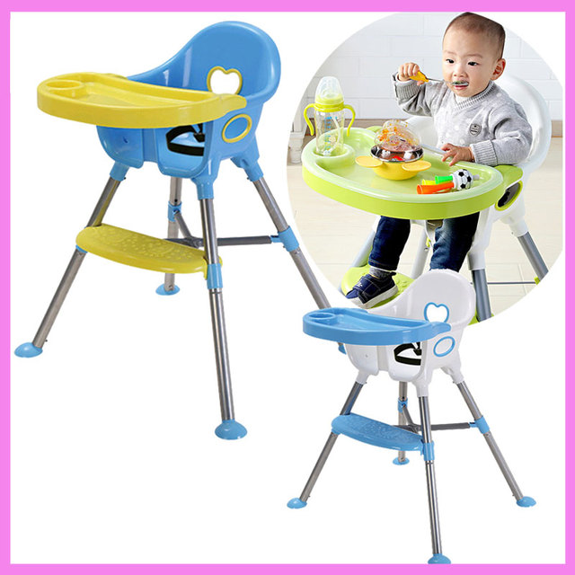 Children Highchair Baby Safety Dinning Chair Table Adjustable Kids Folding  Safety Seat Cup Holder Eatting Plate