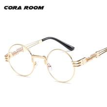 Qualidade da marca óculos claros senhoras óculos moldura de ouro mulheres Moda Retro Rodada óculos de armação dos óculos dos homens Do Punk designer de grau