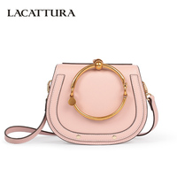LACATTURA Luxury Handbag Women Leather Shoulder Bag Small Wristlets Saddle Messenger Bags Lady Clutch Crossbody Bag for Girls