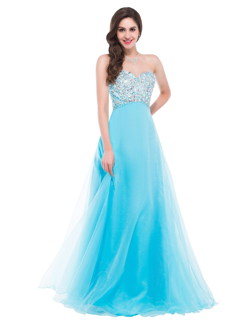 Crystals Bodice Homecoming Dresses Strapless Lace Up Prom Dresses ...