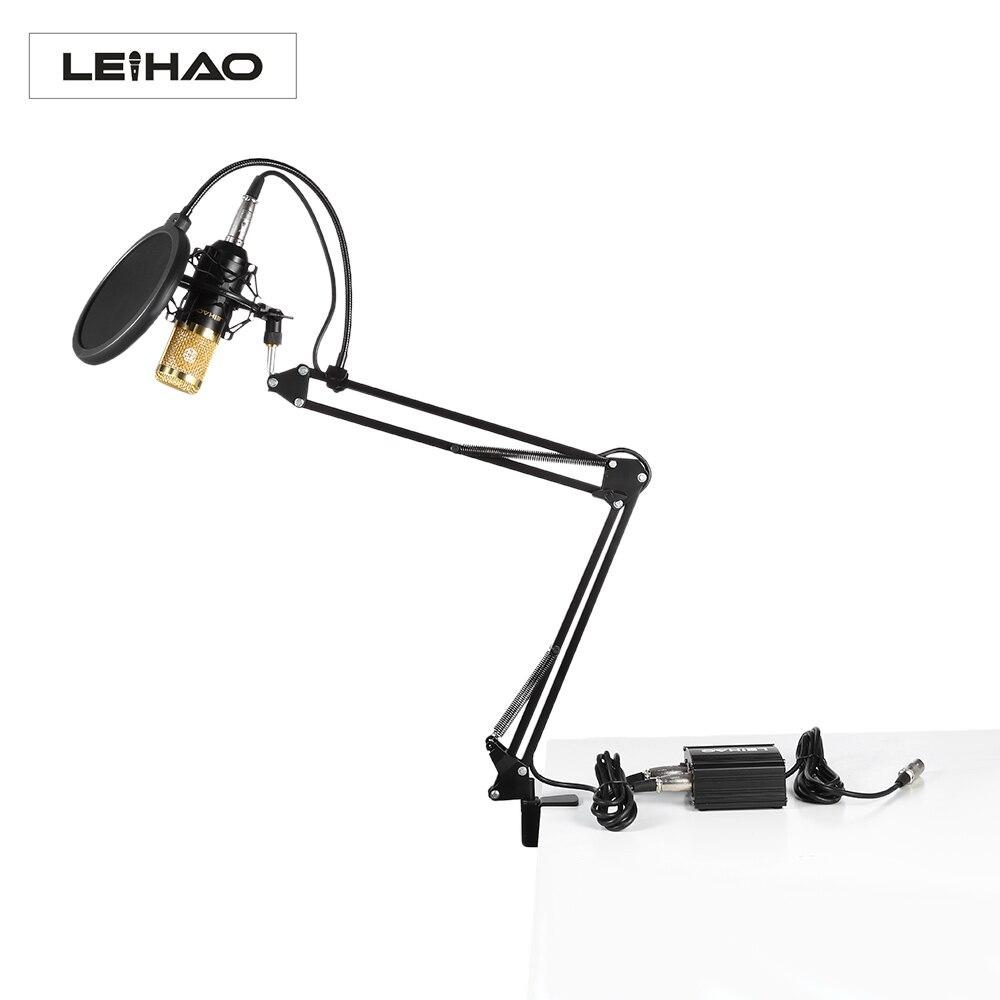 D'origine LEIHAO BM-800 Professionnel Microphone À Condensateur Kit Avec Alimentation Fantôme Pour Studio de Radiodiffusion Enregistrement