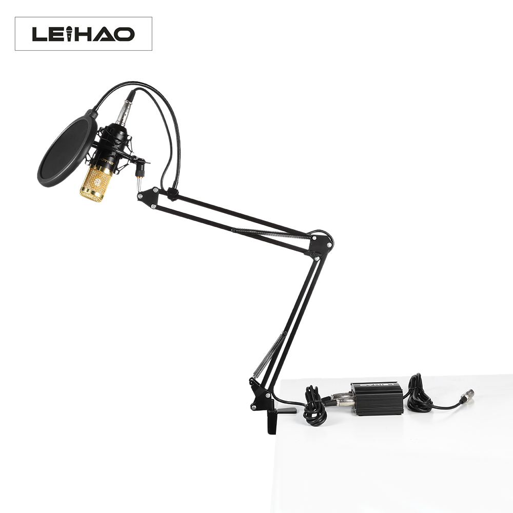 LEIHAO BM-800 Professional Condenser Microphone Kit with Phantom Power Supply for Studio Broadcasting Recording heat live broadcast sound card professional bm 700 condenser mic with webcam package karaoke microphone