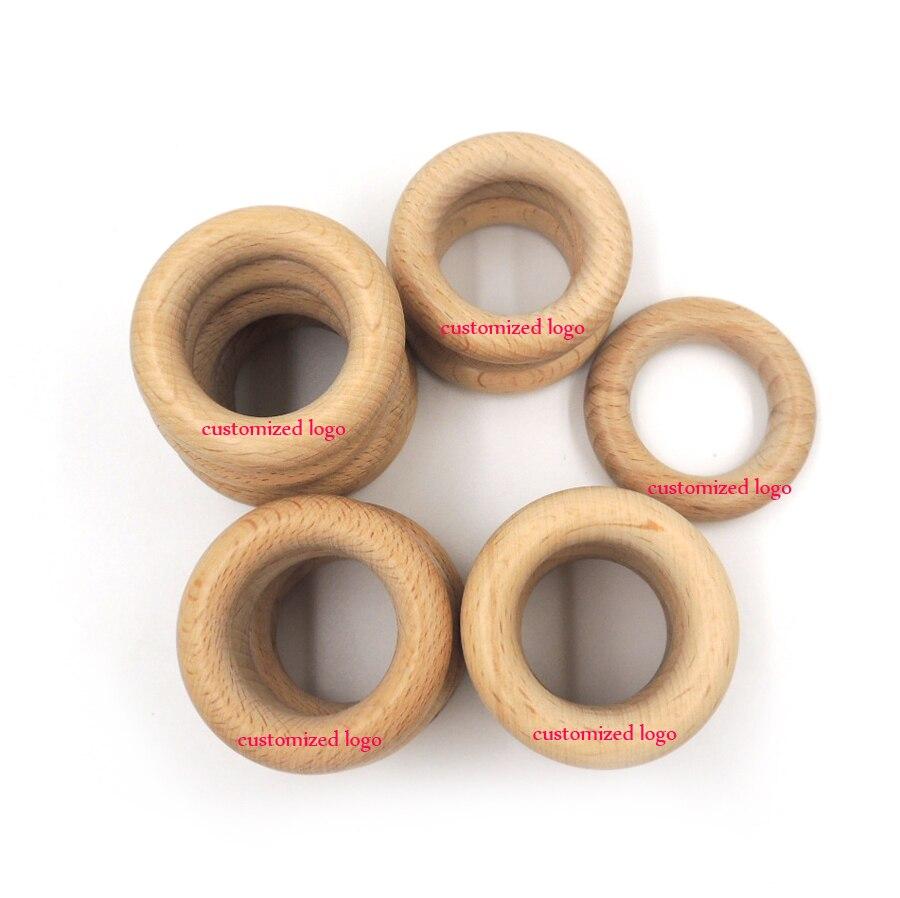 50 pcs 100 pcs logo personnalisé 50mm DIY Organique hêtre Anneau rond hêtre En Bois anneau de dentition soins infirmiers jouet super lisse WC051b