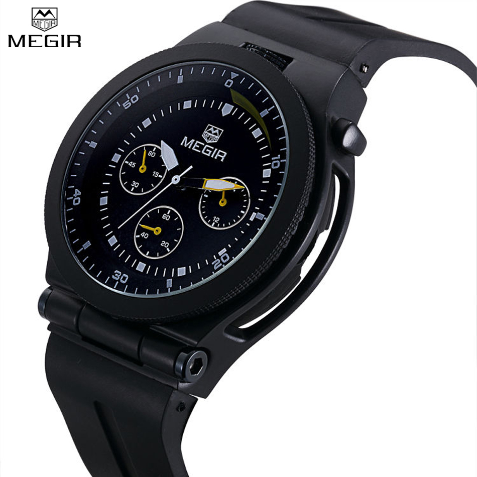 MEGIR Simple Style Decorate Small Dial Watch Men Analog Watch Luxury Band Fashion Men Silicone Watches