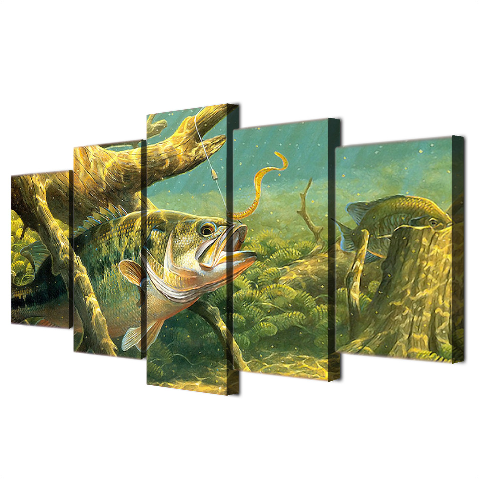 Marco de la Pintura 5 Panel de lona Animal Pescado Paisaje Pared Del ...