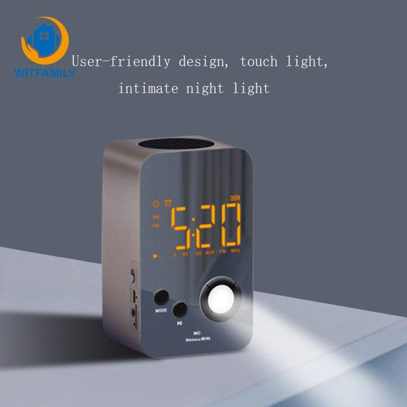 Nuit Lumière Bluetooth Audio Réveil réveil Radio Portable Voyage Horloge De Bureau LED Smart Numérique D'alarme Horloge Tactile Gradation