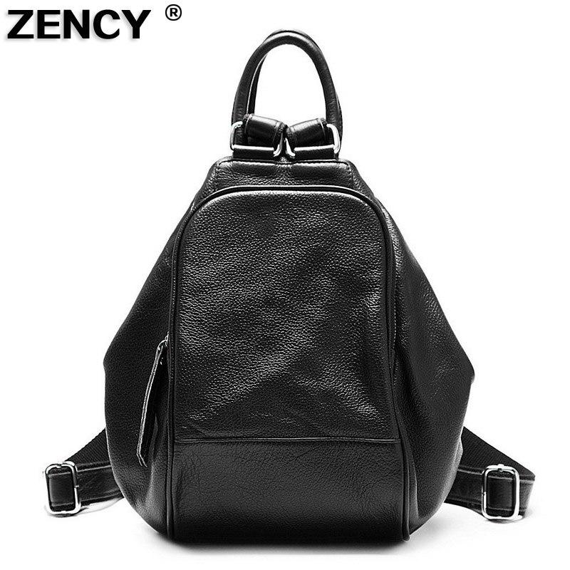 ZENCY 2019 100 Soft Natural RED black BLUE Genuine Leather Shoulder Women s Backpack Ladies First