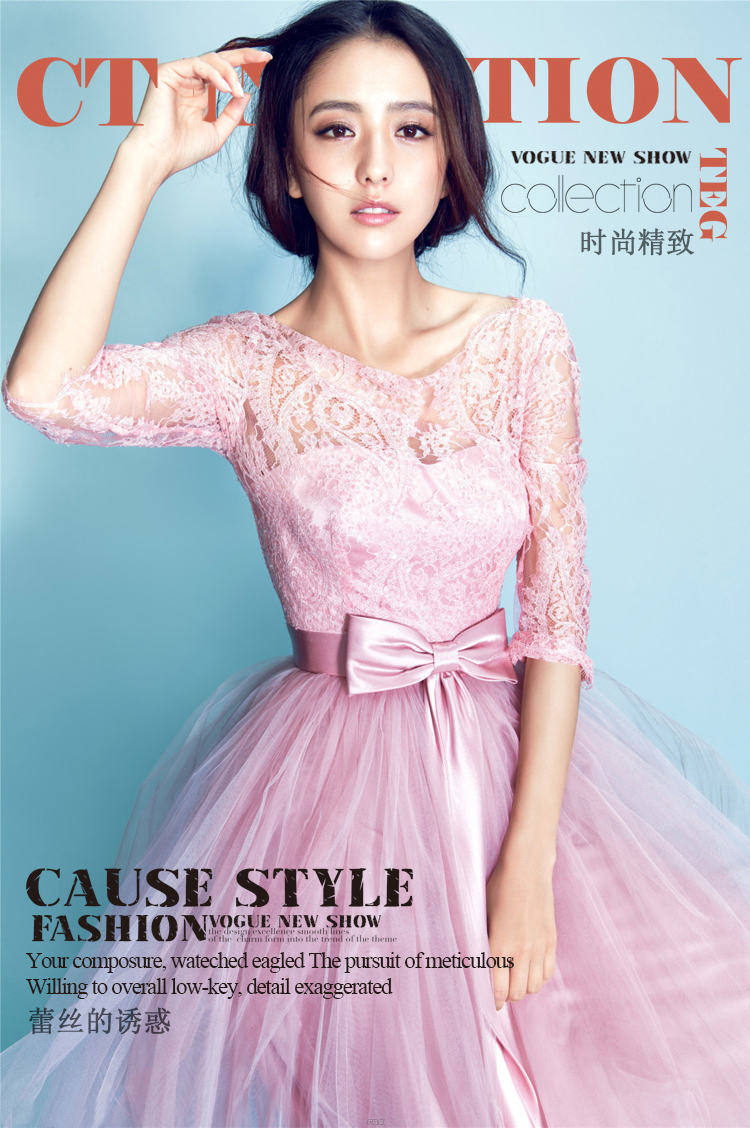 Nuevo color de rosa / lila largo mangas de encaje hasta vestido de ...
