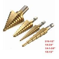 Top Quality 4PCS Set High Speed Steel Titanium Coated Step Drill Bits Set 4 Sizes Bits
