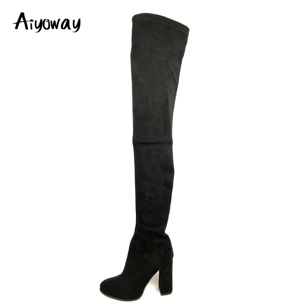 все цены на Aiyoway Sexy Women Round Toe High Heel Over Knee Boots Block Heel Winter Autumn Party Dress Thigh Long Boots Black Side Zip