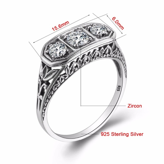 Luxurious Vintage Wedding Accessories Round Shaped Cut Cubic Zirconia Ring Soild 925 Sterling Silver Rings For Women Gifts