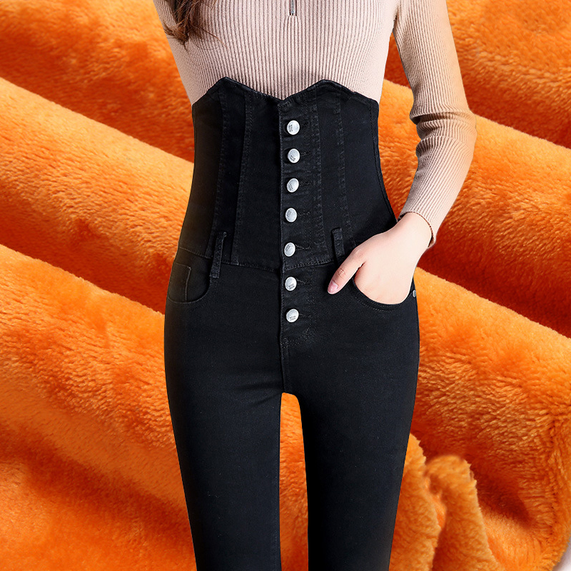 2019 New Winter Fashion Female Skinny Jeans Woman Winter High Waist Mom Jeans Black Plus Size Pencil Denim Warm Jeans For Women