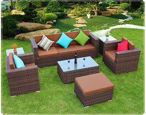 2016 new design rattan furniture high quanlity garden furniture patio furniture lounge rattan sofa tea table wicker cushioned