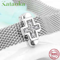 Real 925 Sterling Silver Cross of faith Clips beads Fit Original reflexions Bracelet Charms Jewelry making