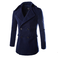 2015 Fashion High Quality Manteau Homme Winter Jacket Men Double Breasted Wool Long Trench Coat Stylish
