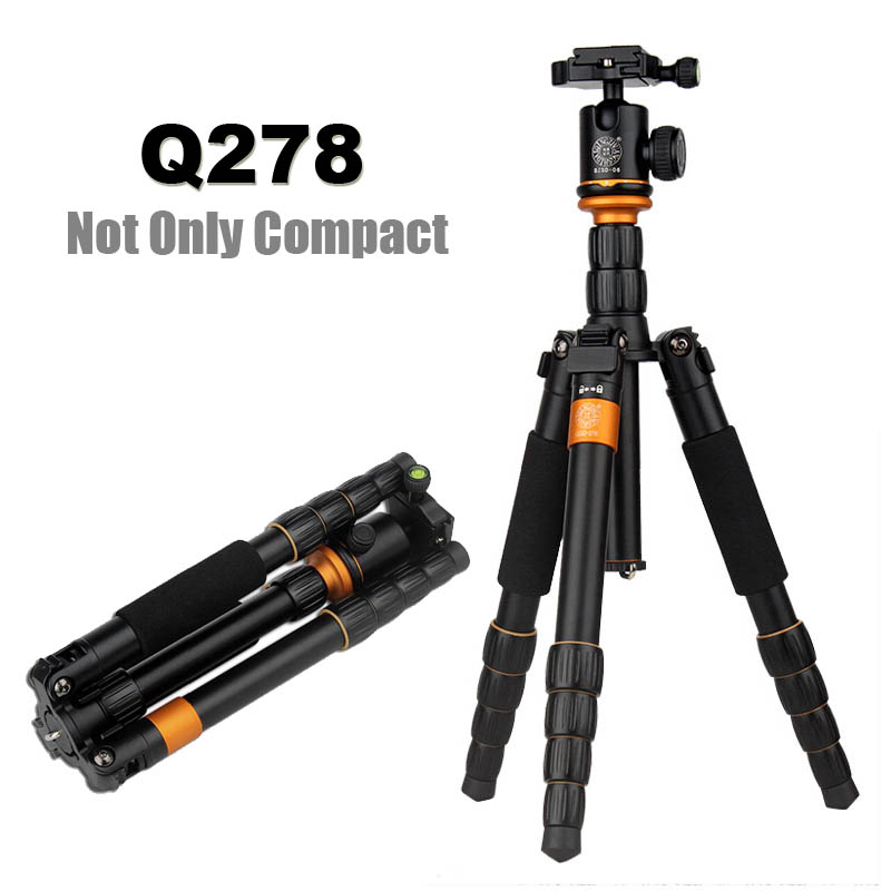 QZSD Q278 Lightweight Compact Tripod Monopod & Professional Ball Head for Canon Nikon DSLR Camere/Portable Reflexed Camera Stand qzsd q999 62 2 inches lightweight tripod monopod