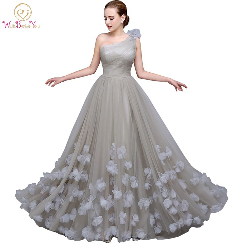 Walk Beside You Gray Evening Dresses Blue One Shoulder Pleats with Floral Long evening gowns for