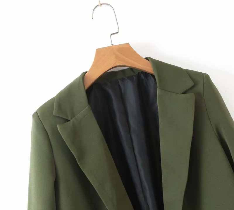 2019 סתיו נשים שיק צבא ירוק בלייזר לקשט כפתור פתוח תפר כיסים חזרה פיצול נשי עבודה ללבוש אופנתי מעיל CT223