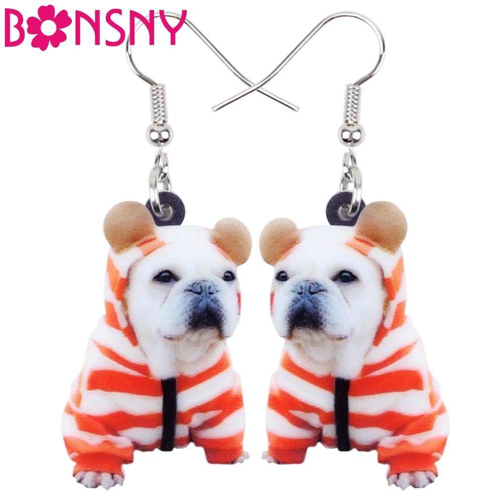 Bonsny акрил Мода Французский бульдог терьер собака серьги большие длинные падение мотаться милые животные ювелирные изделия для Для женщин девушек-подростков