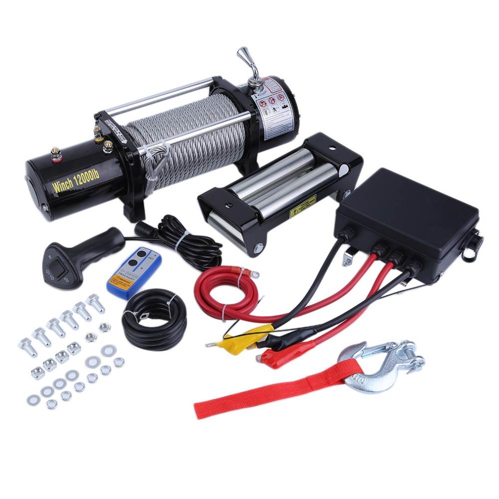 Professional 12000LB Electric Winch Load Capacity With Remote Control Cars Off-Road Engines Lift Winch J28C29