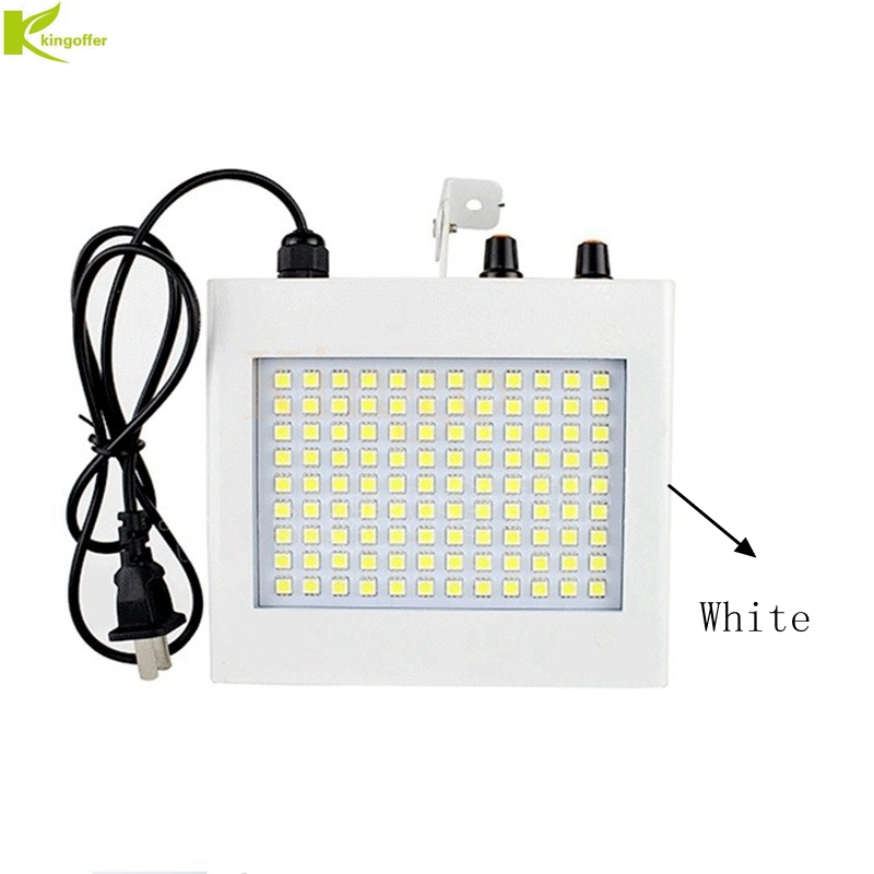 Kingoffer 25w 108 SMD5050 RGB White LED Stage Effect Lamp Voice Sound Activated Speed Adjusted Strobe Flash Light for Party KTV цена