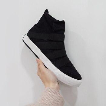 8ff0d6ff5 Мужские туфли из вулканизованной парусины с высоким берцем, модные удобные  мужские кроссовки без шнуровки, обувь для мальчиков, Мужская обу.