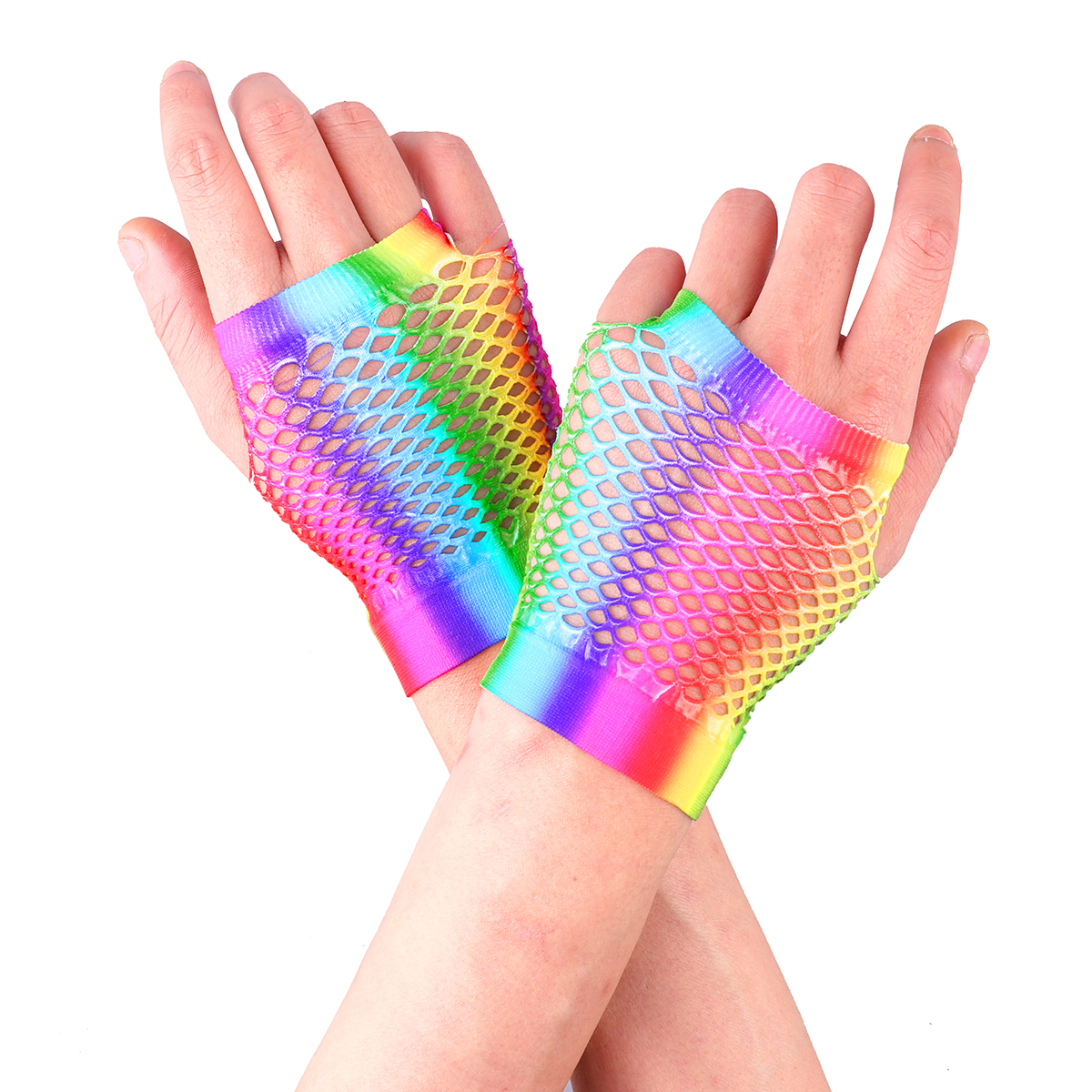 Colorful Retro Women Stretchy Fishnet Fingerless Gloves for 80s Party Supplies